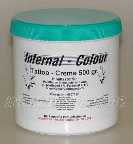 Tattoo Creme Infernal Colour ® mit D - Panthenol 5 % / 500 gr.